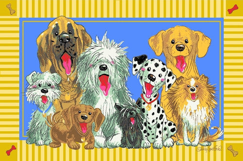 Suzy's Zoo Dogs of Duckport Kids Area Rug - Puppies / Dogs