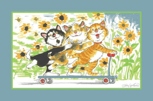 Suzy's Zoo Cats of Duckport Kids Area Rug - Funny Kitties On a Scooter