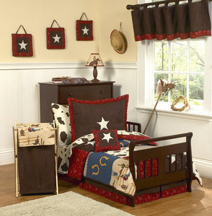 Western Theme Cowboy Toddler Boy Comforter Bedding 5pc Bed in a Bag Set