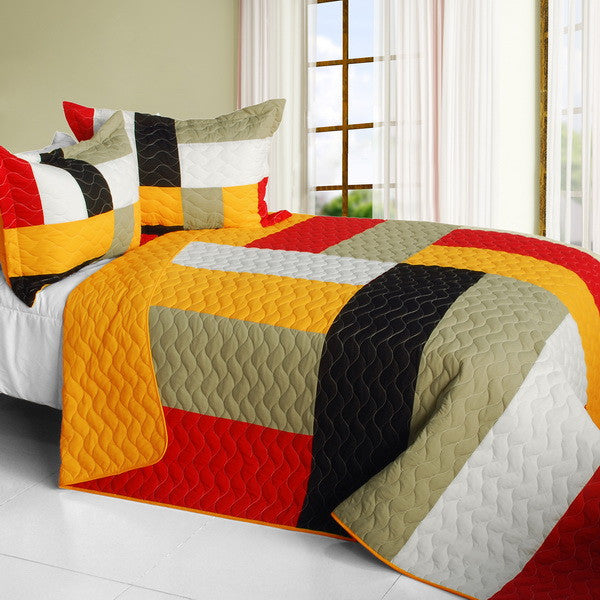 Orange Red Tan Black & White Teen Bedding Full/Queen Quilt Set Geometric Bedspread