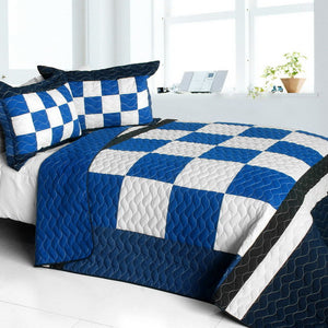 Checkered Blue White Navy Bedding Full/Queen Quilt Set