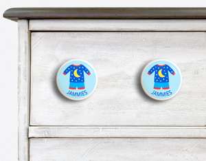 "Boy's Pajamas Ceramic Drawer Knob 2"" - Set of 2"