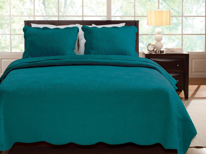 Solid Dark Teal Blue Bedding Twin Quilt Set Scalloped All Cotton Bedspread