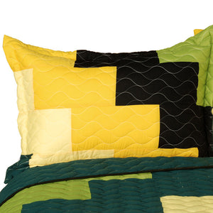 Black Green Yellow Patchwork Teen Boy Bedding Full/Queen Quilt Set - Pillow Sham