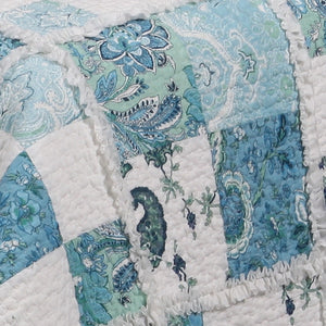 Blue White Paisley Patchwork Girls Bedding Twin Full/Queen King Romantic Ruffled Bedspread