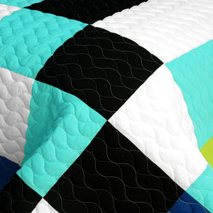 Black White Turquoise Teen Boy Bedding Full/Queen Quilt Set - Detail