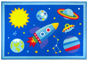 Blue Outer Space Rocket & Planets Kids Area Rug Medium or Large