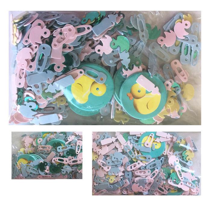 Baby Shower Party Confetti Rubber Ducky Baby Bottles & Pins Pink and Blue