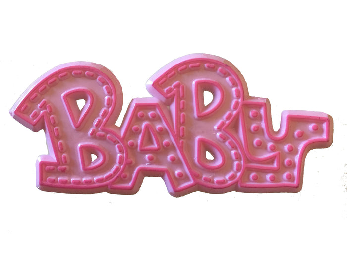 "Plastic Pink or Blue Baby Cake Topper Decorating Plaque 3"" - Baby Shower, New Baby"
