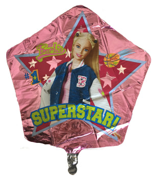 "Modern Superstar Barbie 18"" Birthday Party Balloon - #1 Sports Basketball & Stars Star-Shaped"