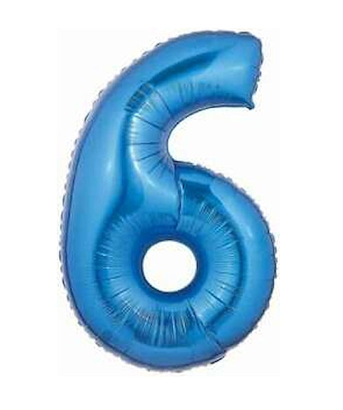 "Blue Number Six 40"" Jumbo Super-Shape Helium Party Balloon"