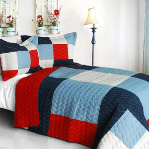 Red White Blue Navy Patriotic Patchwork Geometric Teen Boy Bedding Full/Queen Quilt Set