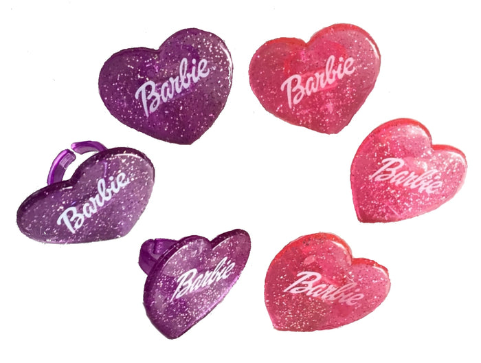 Pink & Purple Barbie Glitter Sparkling Cake or Cupcake Toppers Party Rings 6 CT Heart-Shaped