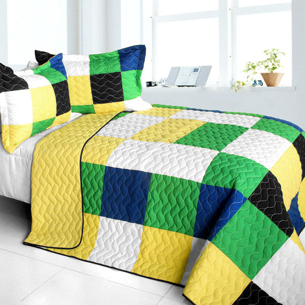 Black White Green Yellow Patchwork Teen Bedding Full/Queen Quilt Set Geometric Bedspread