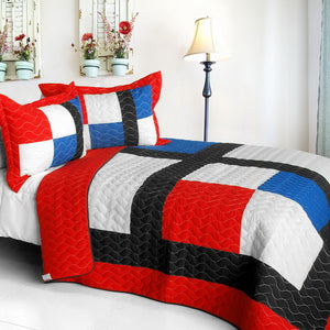 Red Blue White & Black Criss-Cross Teen Boy Bedding Full/Queen Modern Geometric Quilt Set