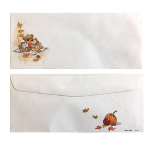 "Suzy's Zoo Fall Thanksgiving  Bears Vintage Envelope Legal Size 9.5"" x 4 1/8"""