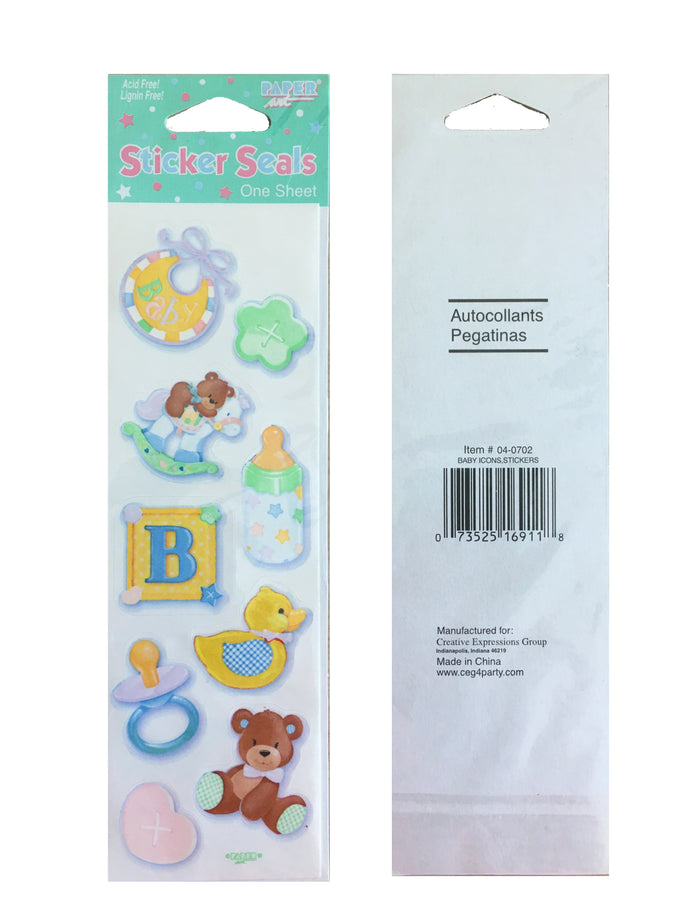 Baby Icons 9 Stickers or Party Seals Baby Shower Scrapbooking