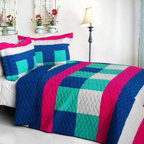 Blue Hot Pink White & Turquoise Geometric Teen Bedding Full/Queen Quilt Set Modern Bedspread