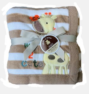 "Carters Child of Mine Luxury Plush Blanket Baby Boy or Girl 30"" x 40"" - Giraffe & Bird Way 2 Cute"