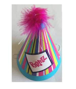 Bratz Happy Birthday Party Perfection Hats 8 CT - Striped Blue & Purple with Boa Pom Pom