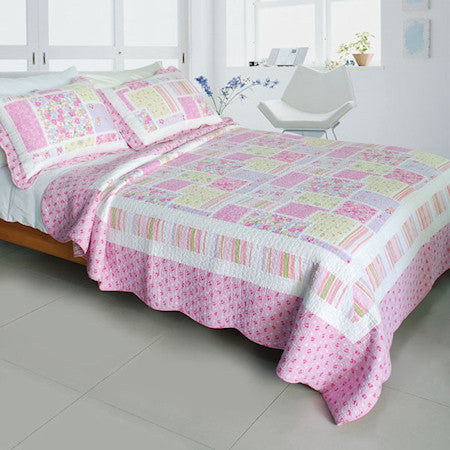 Floral Pink Rose Print Girl Bedding Full/Queen Quilt Set Spring Patchwork Cotton Bedspread