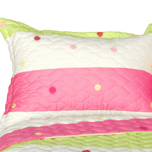 Pink Green Polka Dot & Striped Girl Bedding Twin Full/Queen King Quilt Set - Pillow Sham