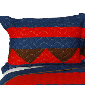 Red Blue Brown Geometric Teen Boy Bedding Full/Queen Quilt Set - Pillow Sham
