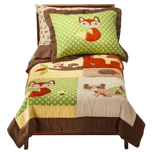 Forest Friends Toddler Bedding - 5pc Comforter & Sheet Set Bed in a Bag & Room Decor Green & Brown