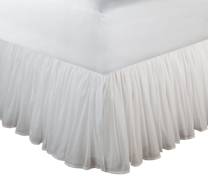 "White Sheer Cotton Voile Ruffled Bed Skirt / Dust Ruffle 15"" or 18"" Drop Twin Full Queen King"