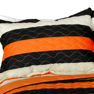 Black Orange Tan Striped Teen Boy Bedding Full/Queen Quilt Set - Pillow Sham