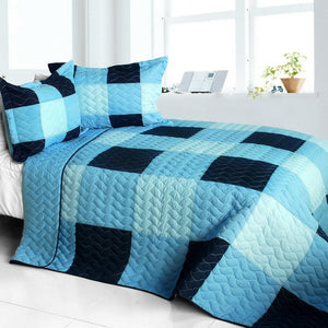 Blue & Navy Patchwork Teen Boy Bedding Full/Queen Quilt Set Modern Checkered Bedspread