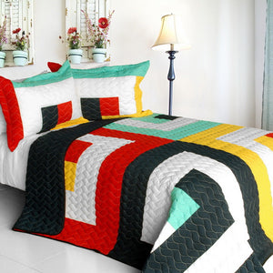 Green Black White Geometric Teen Bedding Girl Boy Full/Queen Quilt Set Colorful Bedspread