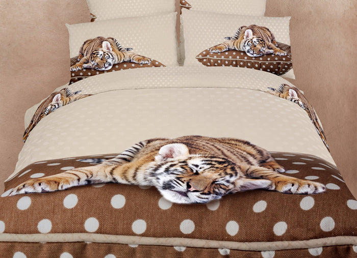 Baby Tiger Bedding Twin XL or Queen Duvet Cover Set Brown & Tan Designer Ensemble