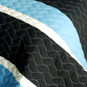 Blue Knight Modern Teen Boy Bedding Full/Queen Quilt Set - Details