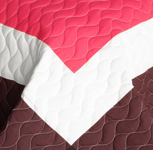 Hot Pink White Brown & Black Patchwork Geometric Teen Bedding Full/Queen Quilt Set