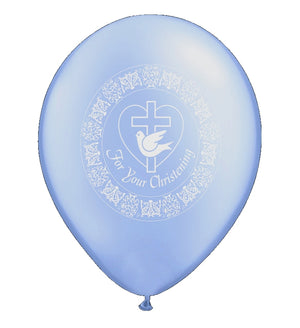 "For Your Christening Dove Blue Baby 11"" Pearlized Latex Party Balloons - 6 CT"