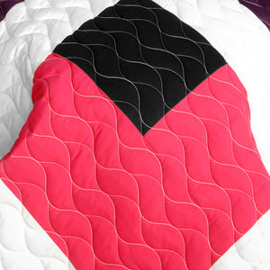 Hot Pink Black White & Brown Patchwork Geometric Teen Bedding Full/Queen Quilt Set