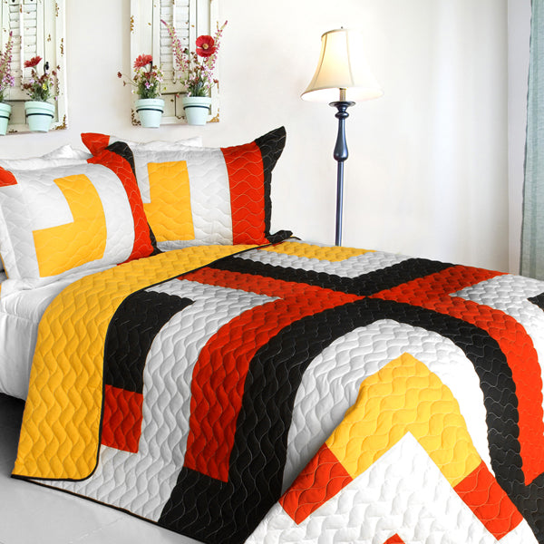 Red Black Yellow & White Teen Bedding Full/Queen Quilt Set Geometric Modern Bedspread
