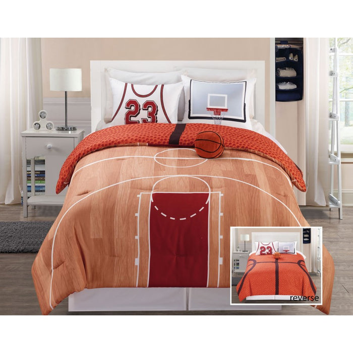 Basketball Court Queen Bedding Comforter Set Twin Full/Queen - Reversible & Plush Pillow