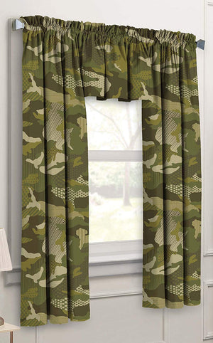Army Camo Green Camouflage Valance & Curtain Set 63""