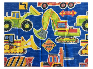 Construction Trucks Blue Window Curtains - Set of 2 Panels with Ties