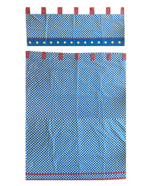 "Blue White Checkered Window Curtain Panel 42"" x 80"" or Valance 42"" x 17"""