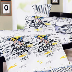 Bike / Bicycling Bedding Duvet Cover Set King Size - Biker on a Bicycle