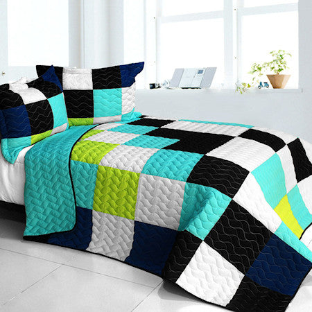 Black White Turquoise Teen Boy Bedding Full/Queen Quilt Set Modern Geometric Bedspread