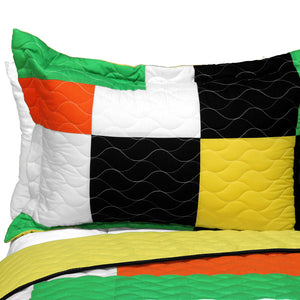 Black White Green Yellow Bedding Full/Queen Quilt Set - Pillow Sham
