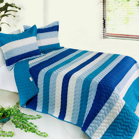 Blue & White Striped Teen Boy or Girl Bedding Striped Quilt Set Oversized Bedspread