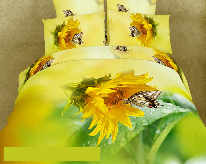 Sunflower & Butterfly Bedding Duvet Cover Set Twin XL Designer Ensemble Floral Yellow Green