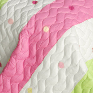 Pink Green Polka Dot & Striped Girl Bedding Twin Full/Queen King Quilt Set - Detail