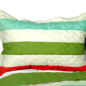 Green Red Blue Striped Teen Bedding Full/Queen Quilt Set - Pillow Sham
