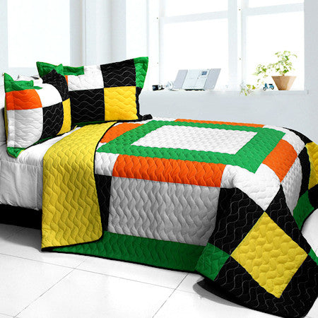 Modern Black White Green & Yellow Patchwork Teen Bedding Full/Queen Quilt Set Geometric Bedspread